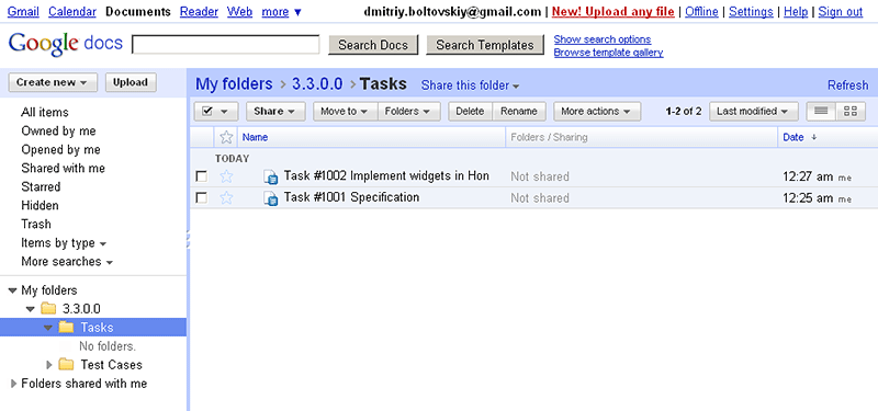 Task specifications in Google Docs