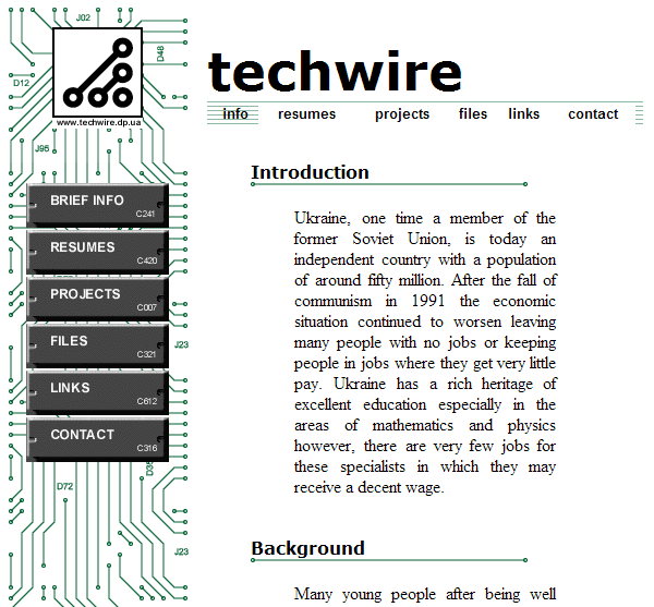TechWire site 1999-2000, interior page